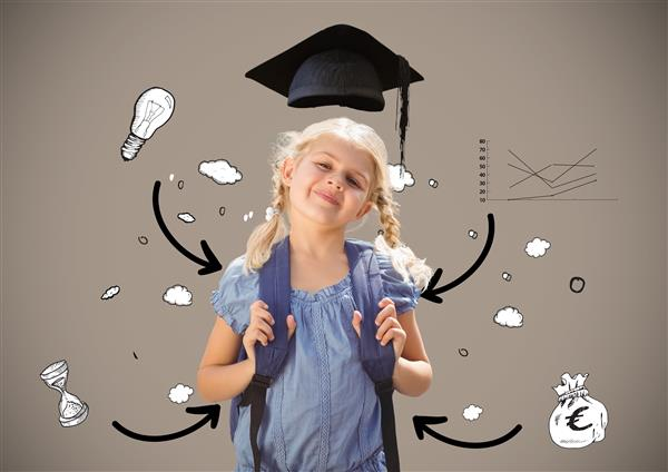 girl smiling with images of a graduation cap and other thought bubbles around her