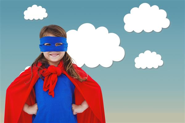 girl wearing a superhero mask and cape with clouds in the background